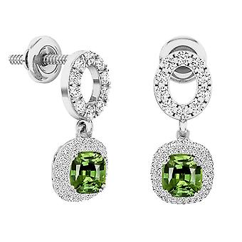 Dazzlingrock Collection 10K 6 MM Each Cushion Peridot & Round Diamond Ladies Halo Dangling Drop Earrings, White Gold