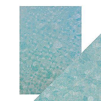 Tonic Studios hantverk perfekt A4 lyx präglade kort, Powder Blue Lace