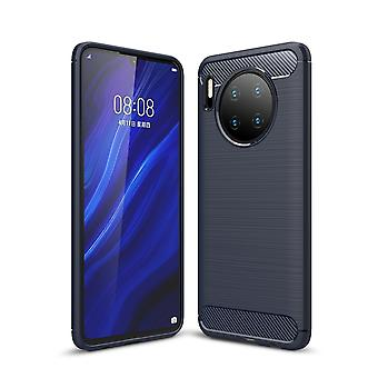 Huawei Mate 30 TPU Case Carbon Fiber Optik Brushed Schutz Hülle Blau