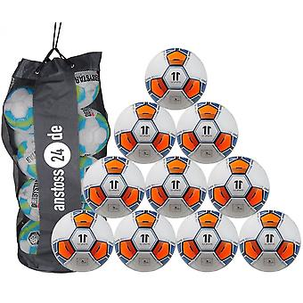 10 x ELF Sports Training Ball - Hybrid Premium - Football with structure surface - incl. ball bag