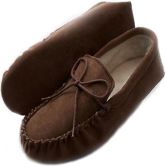 Mens Light Brown mocassin en peau de mouton Pantoufle