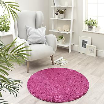 Buddy Washable Round Rugs In Pink