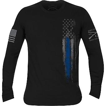 Grunt stil første Utryknings langermet T-skjorte-svart/blå linje flagg