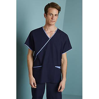 SIMON JERSEY Men's Fitted Mock Wrap Scrub Top, Navy/Hospital Blue