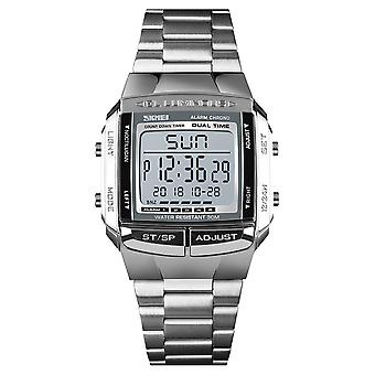 Mens And Kids Digital Watch 5 Alarms Silver With Stopwatch Light Countdown DG1381S