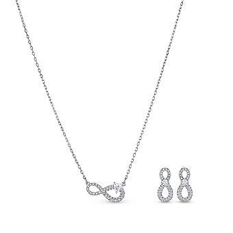 SET Swarovski 5540702-kjede sett og ørepynt av uendelig sølv rhinestones