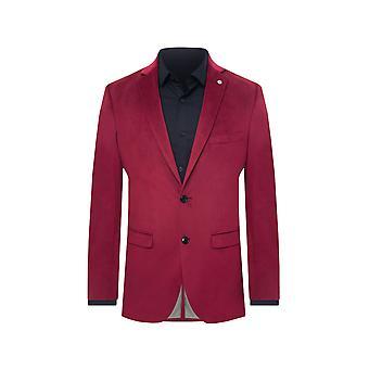 Avail London Mens Burgundy Velvet Suit Jacket Skinny Fit