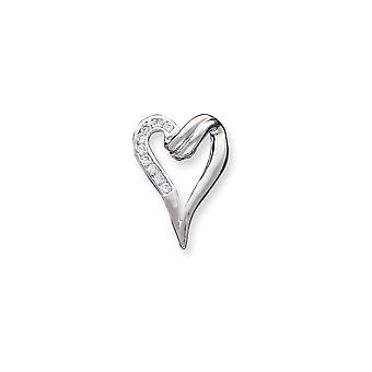 925 sterling sølv polert cz cubic zirconia simulert diamant kjærlighet hjerte form fancy lysbilde smykker gaver til kvinner