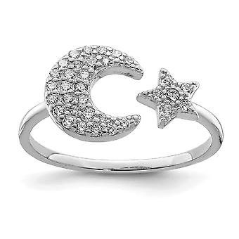 925 Sterling Silver Rhodium Plated CZ Cubic Zirconia Simulated Diamond Star and Celestial Moon Ring Jewelry Gifts for Wo