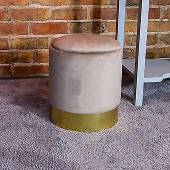 Charles Bentley Round Velvet Storage Dressing Table Stool Footstool Pouffe/Ottoman with Gold Base Taupe
