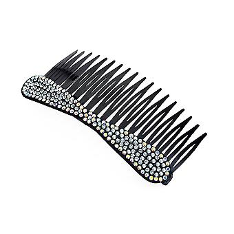 10cm Black Plastic Hair Comb With Crystal And Ab Crystal Bow Design
