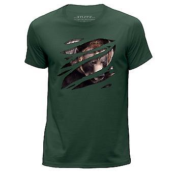 STUFF4 Men's Round Neck T-Shirt/Large Rip/Bear/Zoo Animal/Dark Green