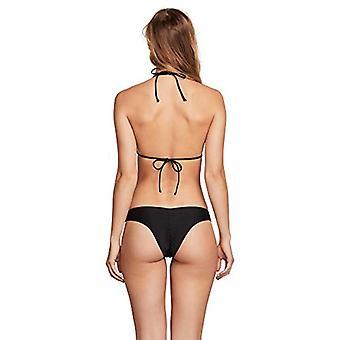 Volcom Women's Simply Solid Triangle Halter Swimsuit Bikini Top, Black, Large