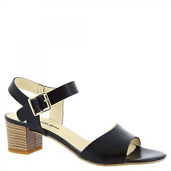 Leonardo Shoes Damskie&s ręcznie robione sandały na niskim obcasie czarna klamra ze skóry cielęcej