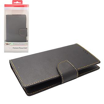 Aimo VERSAL SERIES Deluxe Flip Leather Wallet Case for Large Phones - Black/Black