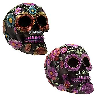 Puckator Metallic Day of the Dead Flower Skull Decoration, Assorted Colours