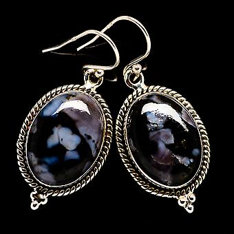 "Gabbro Stone Earrings 1 1/2"" (925 Sterling Silver)  - Handmade Boho Vintage Jewelry EARR399209"