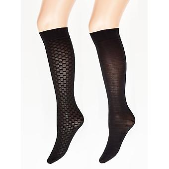 Charnos Opaque Fashion Knee Highs 2 Pair Pack