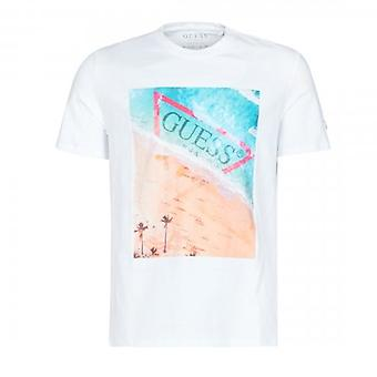 Guess Waterline Print weiß Logo Rundhals T-Shirt M0GI66I3Z00