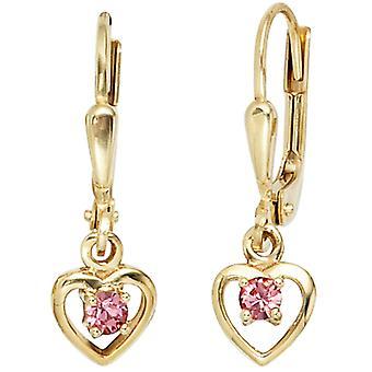 Детское сердце Бутона 333 Золото Желтое золото 2 Стеклянные камни Роза Роза Серьги Серьги Серьги Серьги