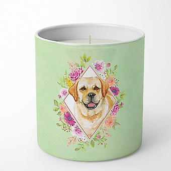 Golden Retriever Green Flowers 10 oz Decorative Soy Candle