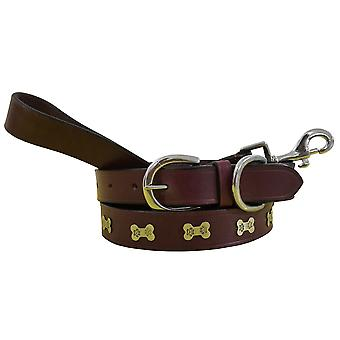 Bradley crompton genuine leather matching pair dog collar and lead set bcdc19purple