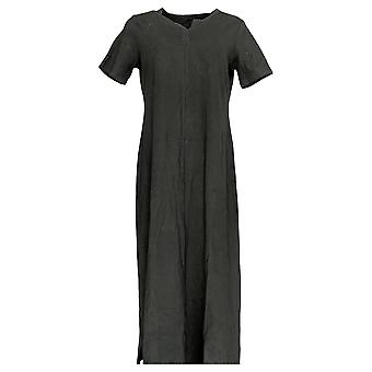 Denim & Co.Women's Petite Split V-Neck Knit Maxi Dress Zwart A304432