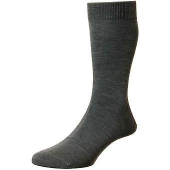 Pantherella Camden Merino wollen sokken-donker grijs mix