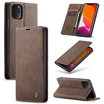 Beskyttende etui imiteret læder Cover til Apple iPhone 11 Pro Max brun sag pung taske sag