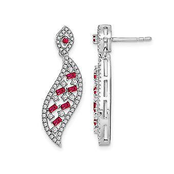 14K White Gold 1/3 Carat (ctw) Ruby Dangle Earrings with Diamonds 1/2 Carat (ctw)