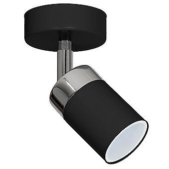 Joker Lámpara de Pared Negro Color, Metal Chrome 11x11x13 cm