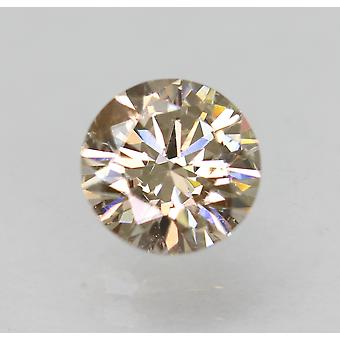Cert 0.73 Carat Light Brown VS2 Round Brilliant Natural Diamond 5.78mm EX CUT