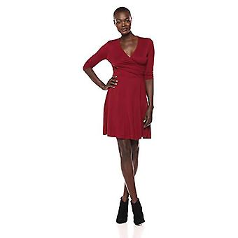 Marca - Lark & Ro Women's Three Quarter Sleeve Faux Wrap Fit and Flare Dress, Burdeos, Large