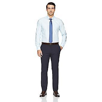 BUTTONED DOWN Men's Slim Fit Spread-Collar Pattern Non-Iron Dress Shirt, Aqua...