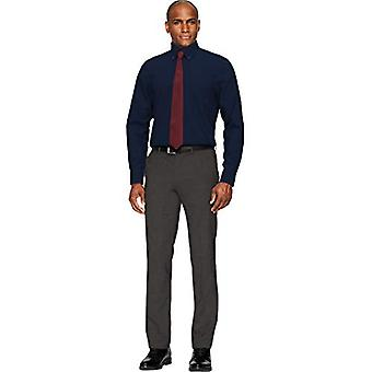 BUTTONED DOWN Men's Classic Fit Button Collar Solid Pocket Options, Navy 17.5...