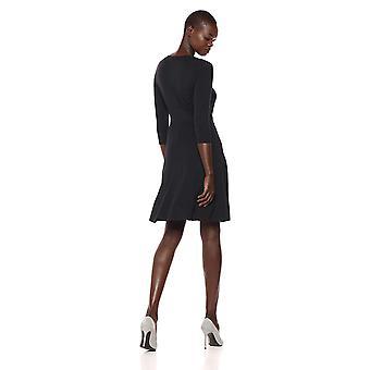 Lark & Ro Women's Three Quarter Sleeve Faux Wrap Fit and Flare Dress, Black, Large