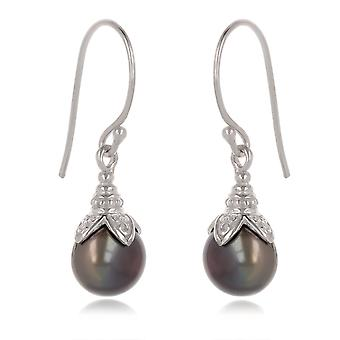 ADEN 925 Boucles d'oreilles Sterling Silver Grey Pearl (id 4400)