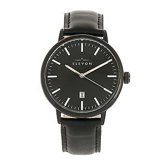 Elevon Vin Leather-Band Watch w/Date - Black