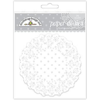 Doodlebug Design Lily Valkoinen Polka Dot Doilies (75kpl) (4472)