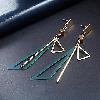 Triangle Tassel Drop Earrings in Green/Gold