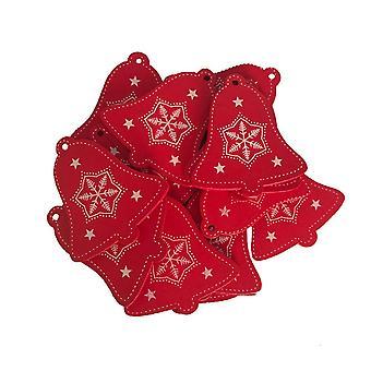 50PCS Ximas Pingentes de Natal Árvore de Natal DIY Decoração Bell Vermelho