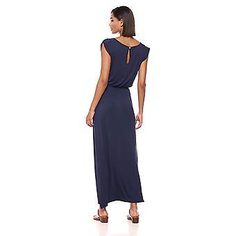 Lyss Loo Women's Timeless Elastic Waist Cap Sleeve Maxi, Navy, X-Large