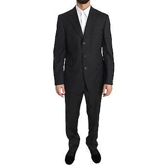 Solid Dark Gray Two Piece 3 Button Wool Suit KOS1388-50