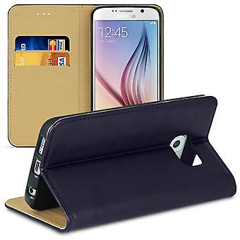 Mobile Case for Samsung Galaxy S6 Microfiber Magnetic Lock TPU Wallet Card Compartment Blue