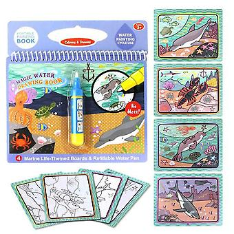 Reusable Magic Water Drawing Book With Pen Coloring Painting Book, Drawing