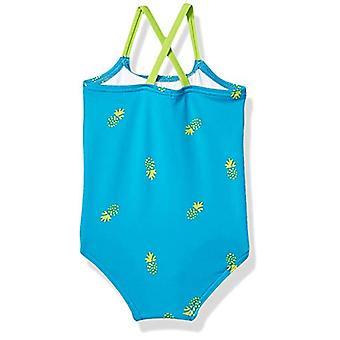 Essentials Baby Girl's Einteiliger Badeanzug, blaue Ananas, 18M