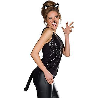 Katzen Set 2tlg. Damenkostüm Accessoire Katzenohren Katzenschwanz Cat Karneval