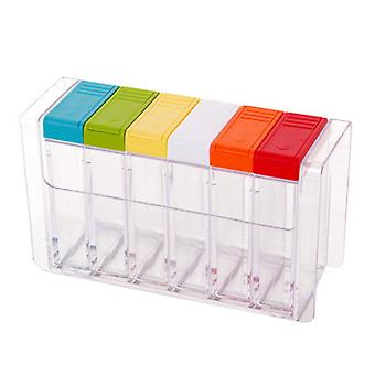 6PCS Kitchen Transparent Plastic Seasoning Box Set Pepper Can Multicolor