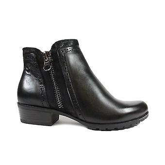 Caprice 25403 Black Leather Womens Ankle Boots