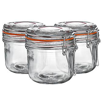 Argon Tableware Glass Storage Jars with Airtight Clip Lid - 200ml Set - Orange Seal - Pack of 3